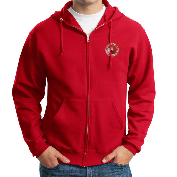 Full Zip Hooded Sweatshirt - Red