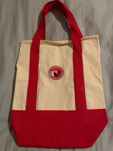 2-Tone Shopping Tote - Natural/Red