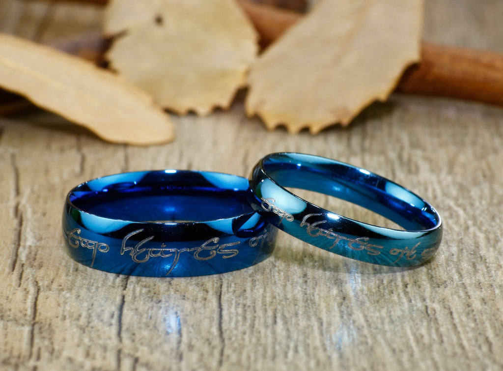 Lord Of The Rings Wedding Band.Handmade Blue Dome Shape Custom Your Words In Elvish Lord Of The Rings Matching Wedding Bands Couple Rings Set Titanium Rings Set Anniversary
