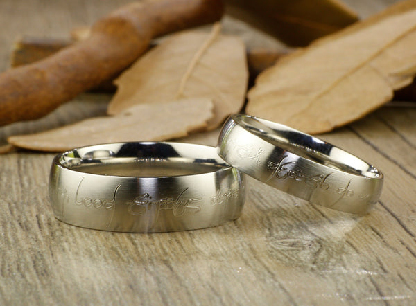 Custom Personalized Your words in Elvish Tengwar Lord of the Rings Matt Blue Wedding Anniversary Titanium Rings Set