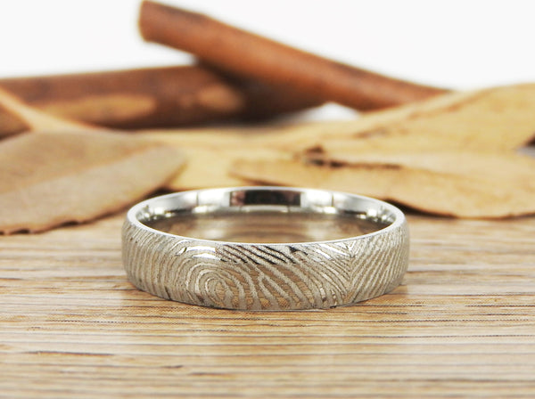 Your Actual Finger Print Rings, Family Fingerprints, Friendship Rings, Women Ring, WEDDING RING - Sliver Titanium Rings 5mm