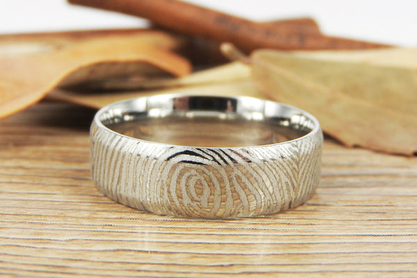 Your Actual Finger Print Rings, Family Fingerprints, Friendship Rings, Men Ring, WEDDING RING - Sliver Titanium Rings 7mm