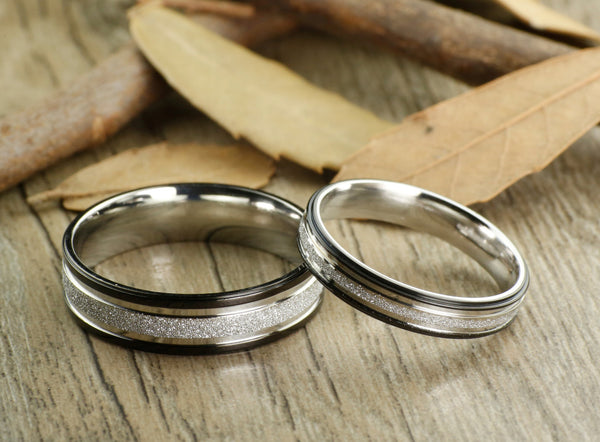 Express service, Special Custom Christmas Gifts , His and Her Promise Rings , Black Wedding Titanium Rings Set