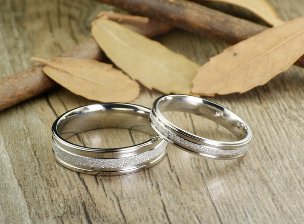 Silver Any Size Handmade Free Engrave Polish Groom&Bride Men Women Wedding Engagement Anniversary Titanium Couple Rings Set