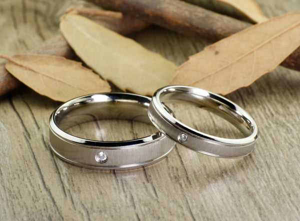 Titanium Wedding Band,Wedding Band Set Matching,Titanium Wedding Band Matching,His Hers Wedding Ring,6mm,4mm,Women,Mens,Male,Female,Couple