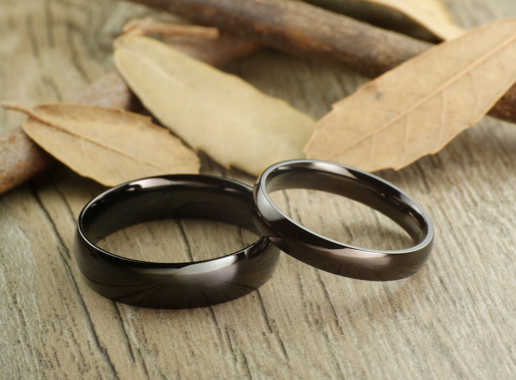 Handmade Black Dome Plain Matching Wedding Bands Couple Rings Set Ti