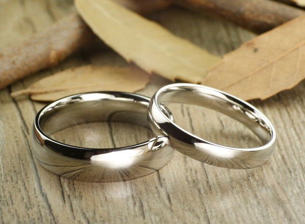 Handmade Dome Plain Matching Wedding Bands, Couple Rings Set, Titanium Rings Set, Anniversary Rings Set