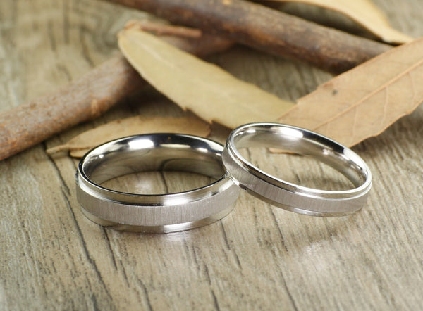 Handmade Plain Groom & Bride Eternity ring Wedding Bands Titanium Couple Rings