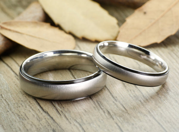 Handmade Titanium Matching Wedding Bands Rings Set for Men Women