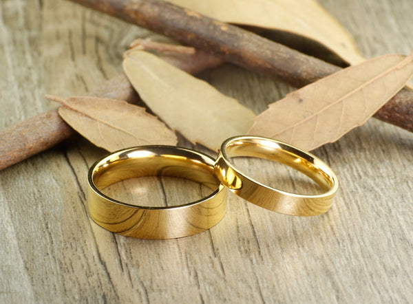 Handmade Gold Flat Plain Matching Wedding Bands, Couple Rings Set, Titanium Rings Set, Anniversary Rings