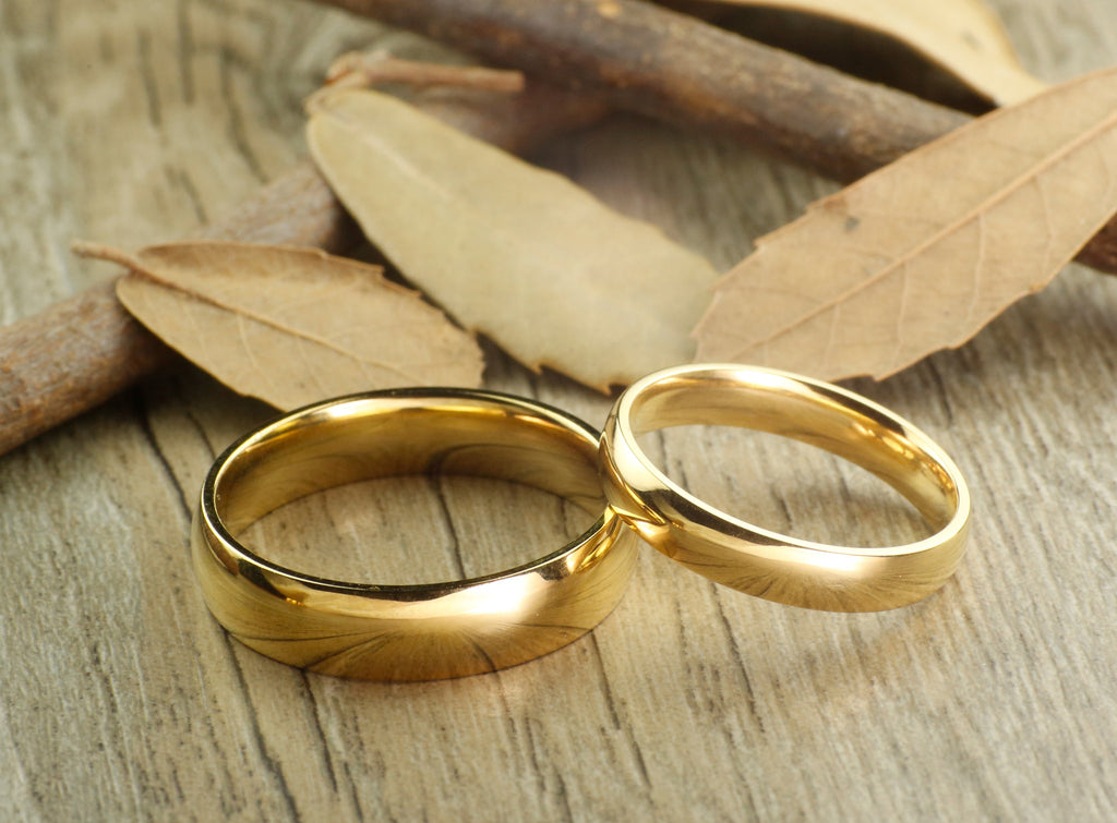 Handmade Gold Dome Plain Matching Wedding Bands, Couple