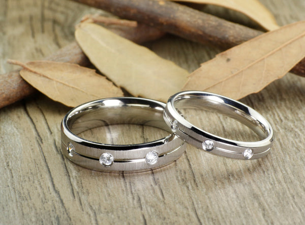 Handmade Cubic Zirconia Matte Wedding Bands, Couple Rings Set, Titanium Rings Set, Anniversary Rings Set - jringstudio