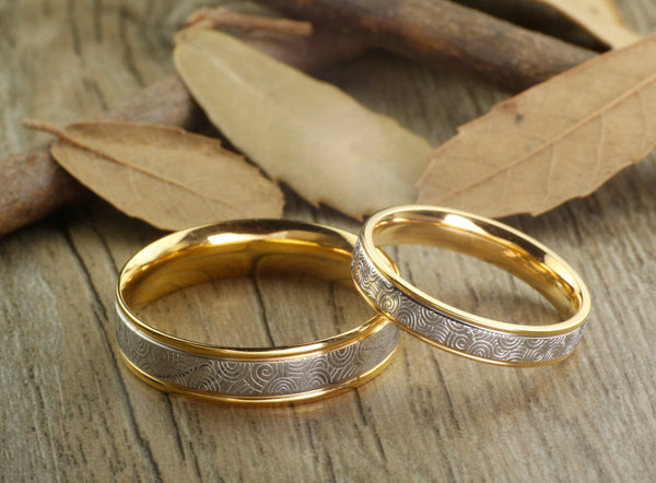 Handmade Gold Wedding Bands, Couple Rings Set, Titanium Rings Set, Anniversary Rings Set
