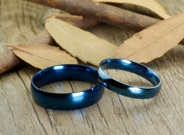 Handmade Blue Dome Plain Matching Wedding Bands, Couple Rings Set, Titanium Rings Set, Anniversary Rings Set