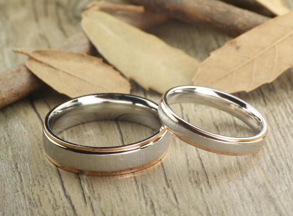 Handmade Rose Gold Matte Wedding Bands Titanium Ring Set