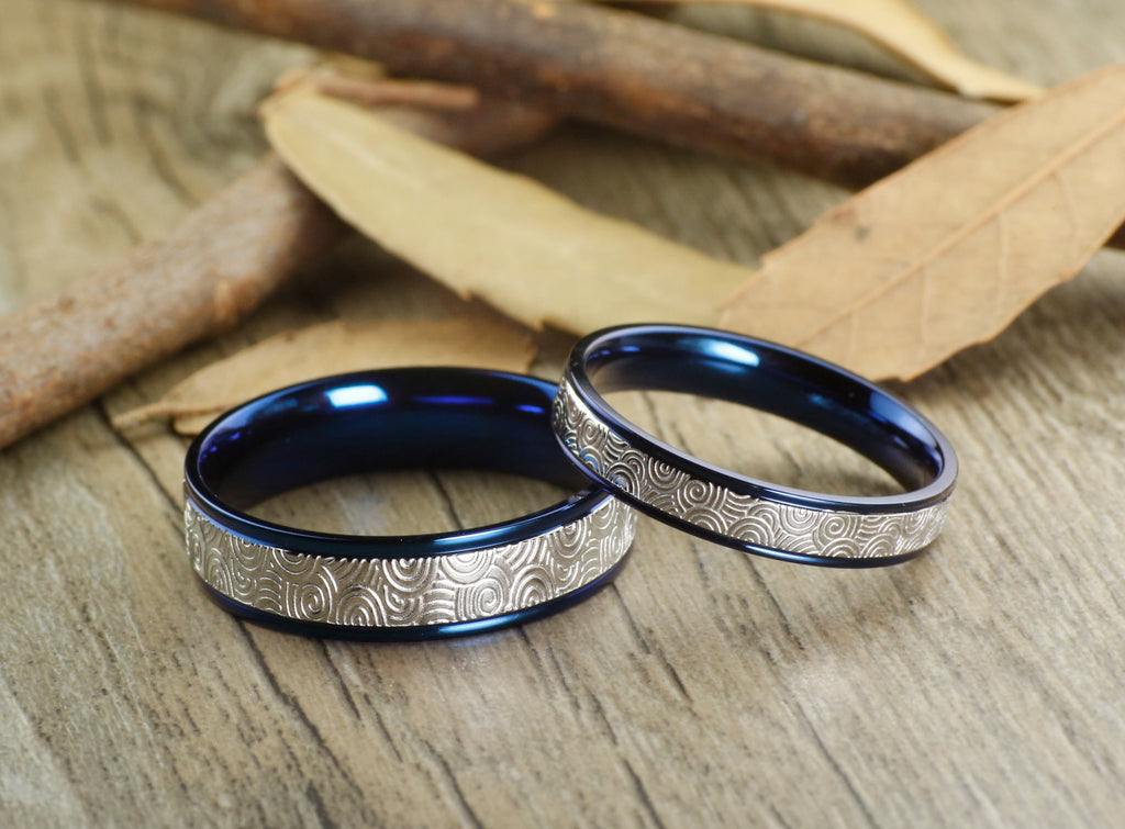 Unique Blue Wedding Bands, Couple Rings Set, Titanium Rings Set,  Anniversary Rings Set ...