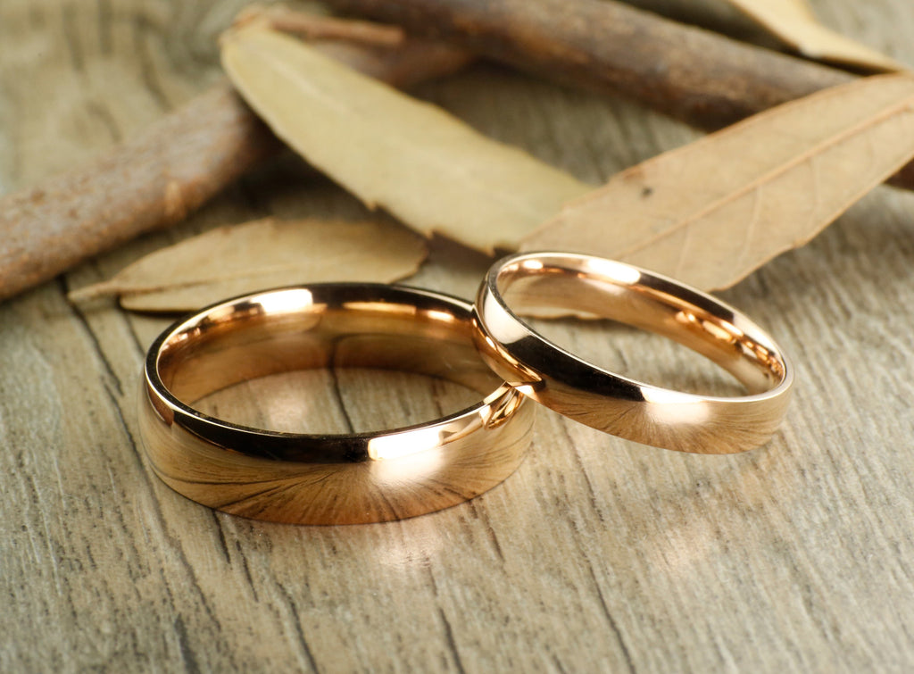 Handmade Rose Gold Dome Plain Matching Wedding Band Couple Rings Set