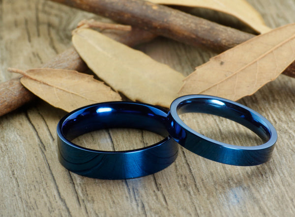 Handmade Blue Flat Plain Matching Wedding Bands, Couple Rings Set, Titanium Rings Set, Anniversary Rings Set - jringstudio