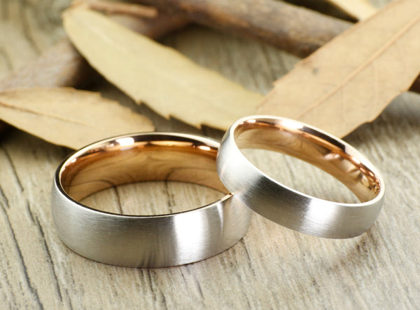 Handmade Rose Gold Matte Wedding Bands, Couple Rings Set, Titanium Rings Set, Anniversary Rings Set