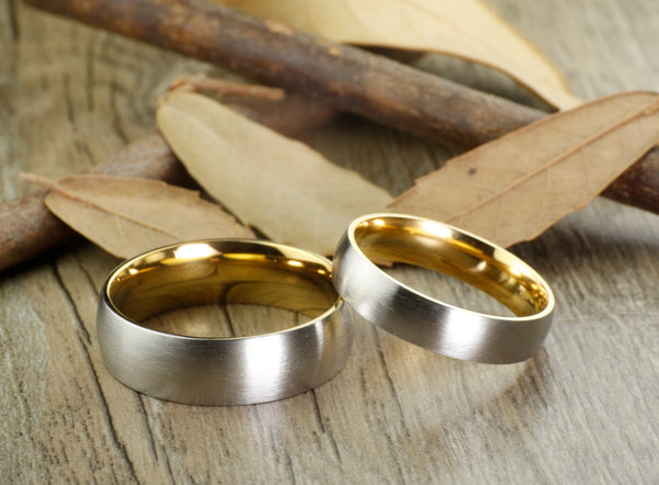 Handmade Gold Matte Wedding Bands, Couple Rings Set, Titanium Rings Set, Anniversary Rings Set
