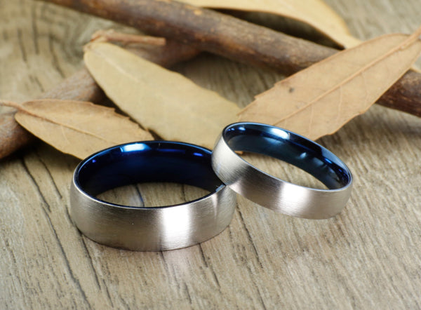 Handmade Blue Matte Wedding Bands, Couple Rings Set, Titanium Rings Set, Anniversary Rings Set - jringstudio