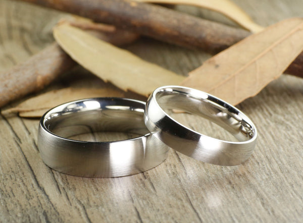 Handmade Dome Matte Wedding Bands, Couple Rings Set, Titanium Rings Set, Anniversary Rings Set