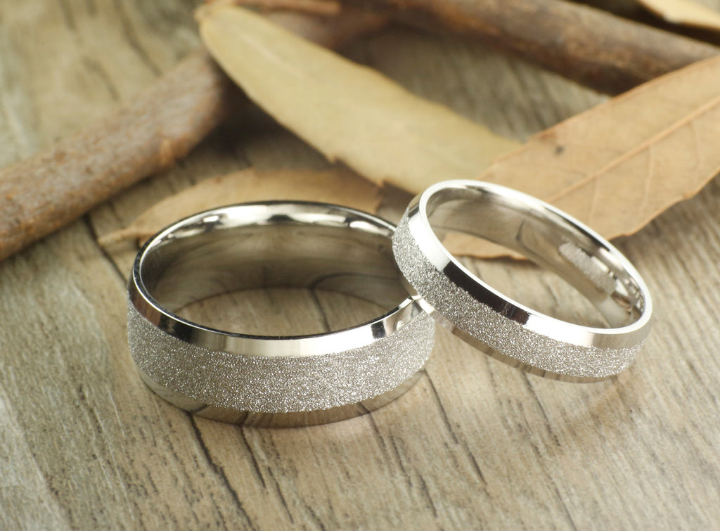 Handmade Wedding Bands, Couple Rings Set, Titanium Rings Set, Annivers