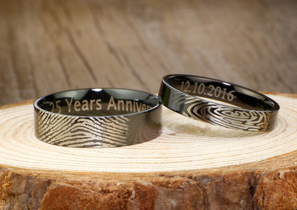 Black Actual Finger Print Rings,  His and Hers Matching Polish Wedding Bands Rings 6mm and 4mm Wide Titanium Rings Set