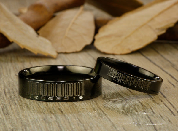Handmade Black Flat Plain Matching Wedding Bands, Couple Rings Set, Titanium Rings Set, Anniversary Rings Set - jringstudio