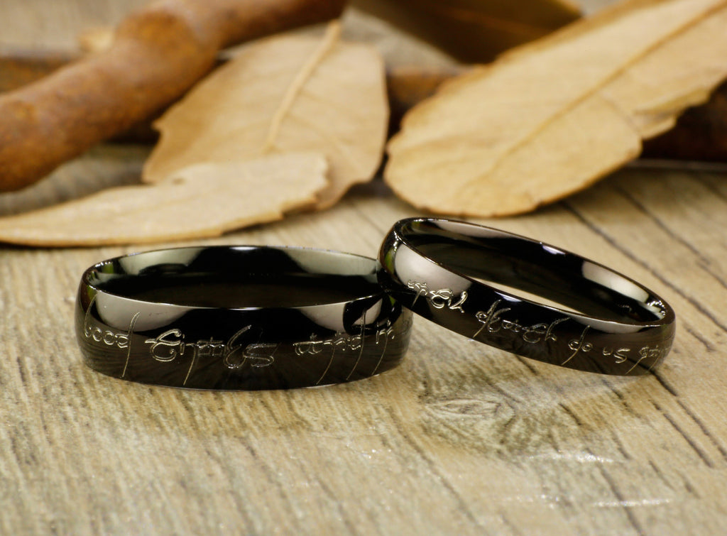 Lord Of The Rings Wedding Band.Handmade Black Dome Shape Custom Your Words In Elvish Lord Of The Rings Matching Wedding Bands Couple Rings Set Titanium Rings Set Anniversary