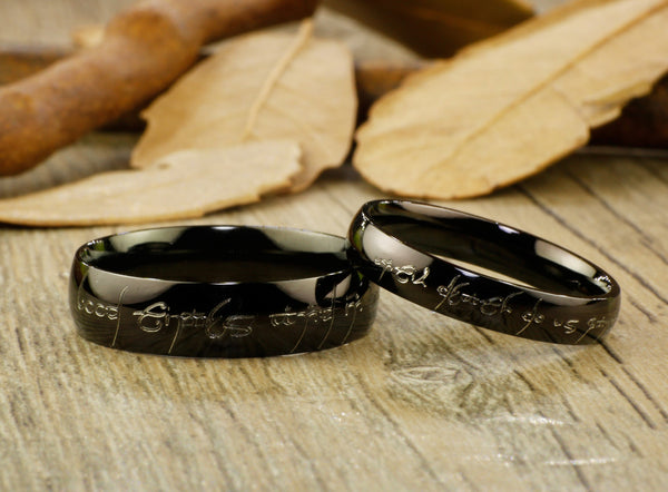 Handmade Black Dome shape Custom Your words in Elvish, Lord of the Rings , Matching Wedding Bands, Couple Rings Set, Titanium Rings Set, Anniversary Rings Set
