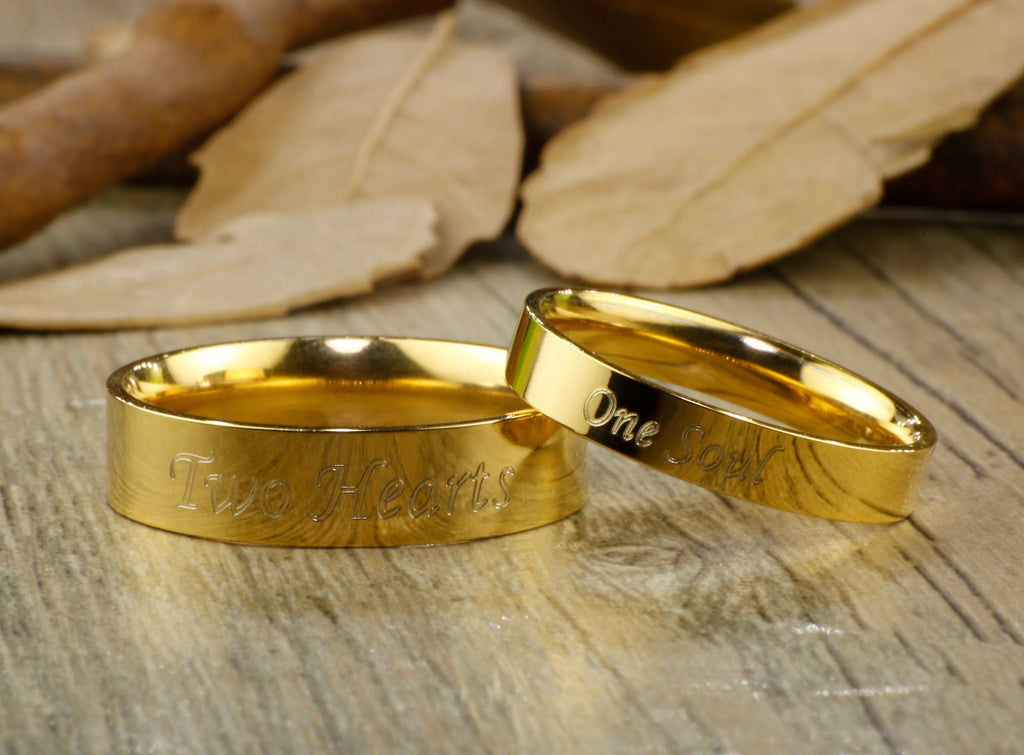 Handmade Gold Dome Plain Matching Wedding Bands Couple Rings Set Tit