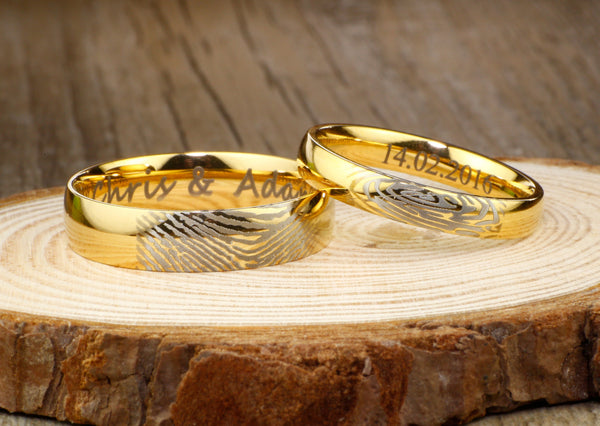 Your Actual Finger Print Rings, Special Custom Christmas Gifts for Couple, His & Hers Matching 18K Gold Wedding BandsTitanium Rings Set