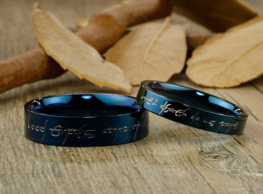 Handmade Blue Flat shape Custom Your words in Elvish Lord of the Ring
