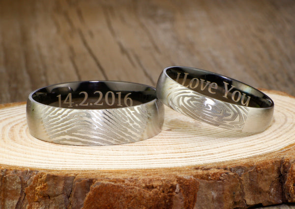 Your Actual Finger Print Rings, WEDDING RING -- Personalized Matt Two Tone Black Wedding Titanium Rings Set
