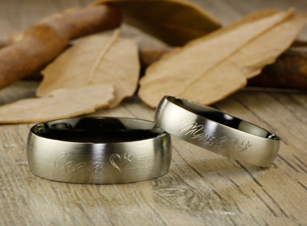 Handmade Black Dome Matte Wedding Bands, Couple Rings Set, Titanium Rings Set, Anniversary Rings Set - jringstudio