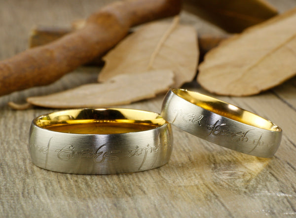 Handmade Gold Dome shape Custom Your words in Elvish Tengwar, Lord of the Rings,  Matching Wedding Bands, Couple Rings Set, Titanium Anniversary Rings Set