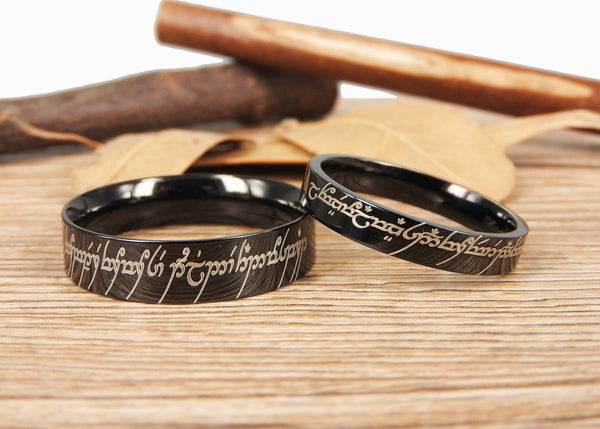 Handmade Flat Polish Custom Your words in Elvish Tengwar, Lord of the Rings, Matching Wedding Bands, Couple Rings Set, Anniversary Rings Set