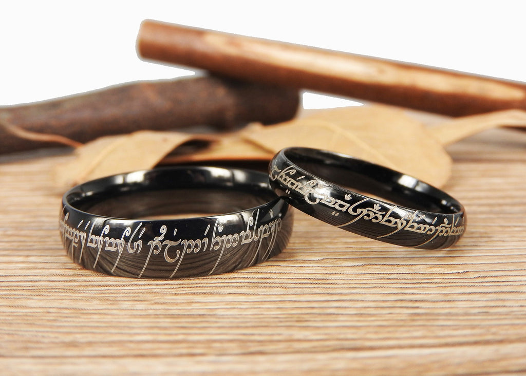 Custom Elvish Wedding Bands Engagement Rings by J Rings Studio