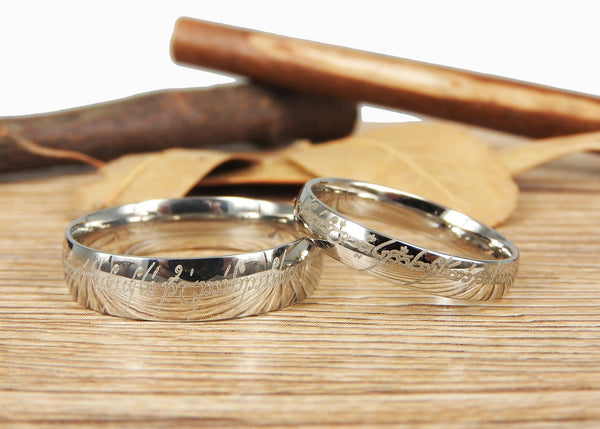 Handmade Silver Dome Shape, Custom Your words in Elvish, Lord of the Rings , Matching Wedding Bands, Couple Rings Set, Titanium Rings Set, Anniversary Rings Set