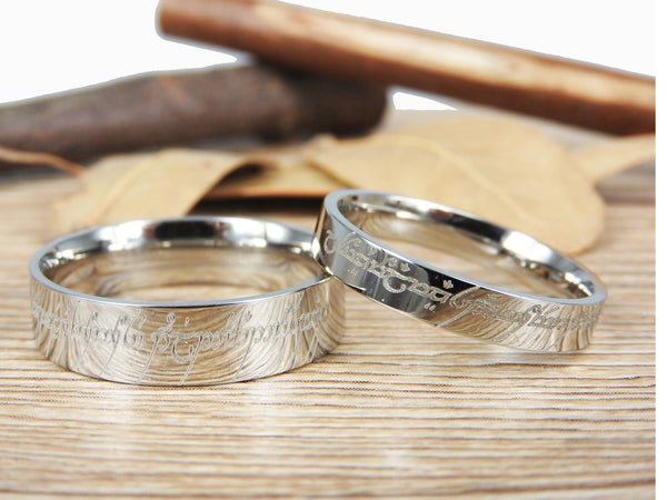 Handmade Silver Flat Polish Custom Your words in Elvish, Lord of the Rings , Matching Wedding Bands, Couple Rings Set, Titanium Rings Set, Anniversary Rings Set