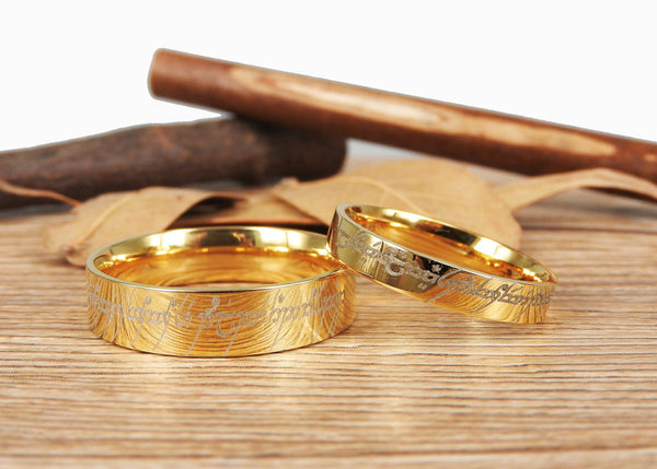 Handmade Gold Flat Polish Custom Your words in Elvish, Lord of the Rings , Matching Wedding Bands, Couple Rings Set, Titanium Rings Set, Anniversary Rings Set