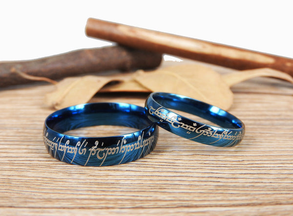 Handmade Blue Dome Shape Custom Your words in Elvish, Lord of the Rings , Matching Wedding Bands, Couple Rings Set, Titanium Rings Set, Anniversary Rings Set - jringstudio