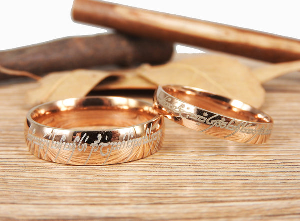 Handmade Rose Gold Dome Shape Custom Your words in Elvish, Lord of the Rings , Matching Wedding Bands, Couple Rings Set, Titanium Rings Set, Anniversary Rings Set