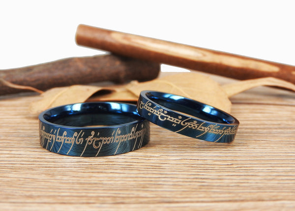 Handmade Blue Flat Polish Custom Your words in Elvish, Lord of the Rings , Matching Wedding Bands, Couple Rings Set, Titanium Rings Set, Anniversary Rings Set