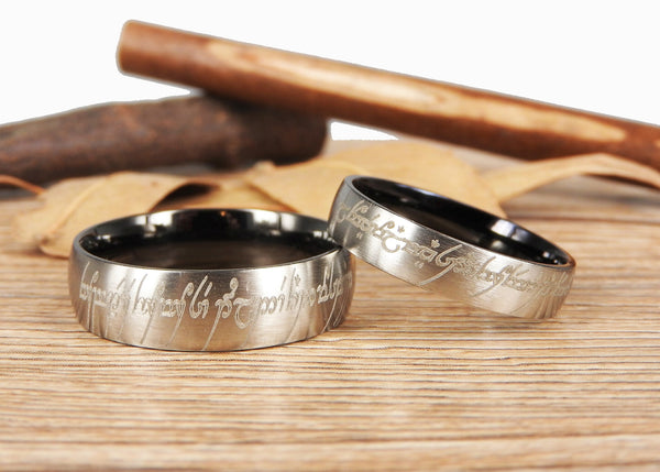 Handmade Two Tone Dome Shape Custom Your words in Elvish, Lord of the Rings , Matching Wedding Bands, Couple Rings Set, Titanium Rings Set, Anniversary Rings Set