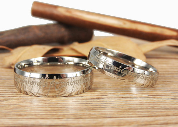 Handmade Silver Dome Shape Custom Your words in Elvish, Lord of the Rings , Matching Wedding Bands, Couple Rings Set, Titanium Rings Set, Anniversary Rings Set
