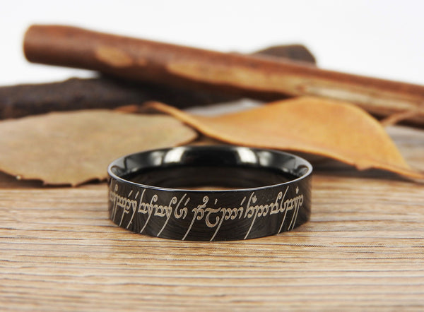 Handmade Flat Polish Custom Your words in Elvish Tengwar, Lord of the Rings, Matching Wedding Bands, Couple Rings, Anniversary Rings