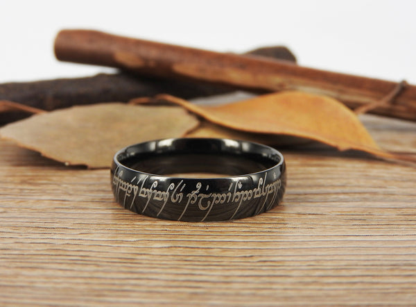 Handmade Black Dome shape Custom Your words in Elvish, Lord of the Rings , Matching Wedding Bands, Couple Rings, Titanium Rings, Anniversary Rings