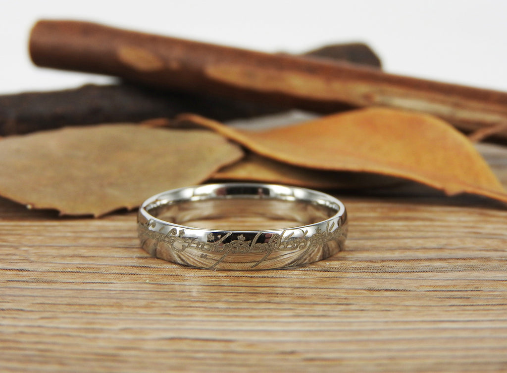 handmade dome shape custom your words in elvish tengwar lord of the rings wedding - Lord Of The Rings Wedding Band